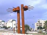 construcción y montaje de una escultura acero corten - Sol vertical