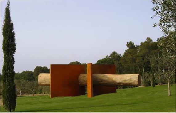 fabrication sculpture en acier corten et en bois titan arcs chaudronnerie leorpe. Black Bedroom Furniture Sets. Home Design Ideas