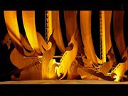 Escultura acero corten barcos fenicios de Luis Marino en Mazarrón
